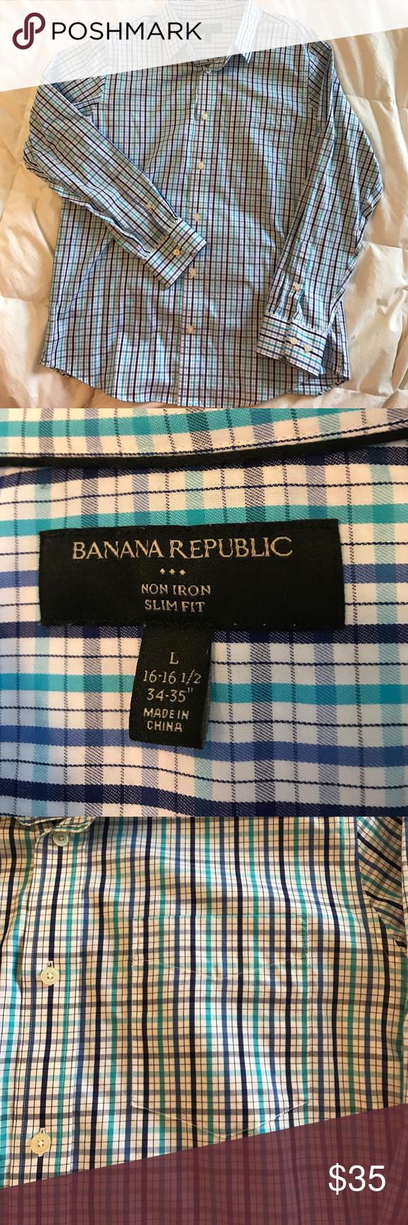 "Banana Republic non iron button down shirt Slim Fit/ non Iron/Multi colored blues, striped button down shirt. Pocket on left breast. Size L 16-16.5/34-35"" Banana Republic Shirts Casual Button Down Shirts"