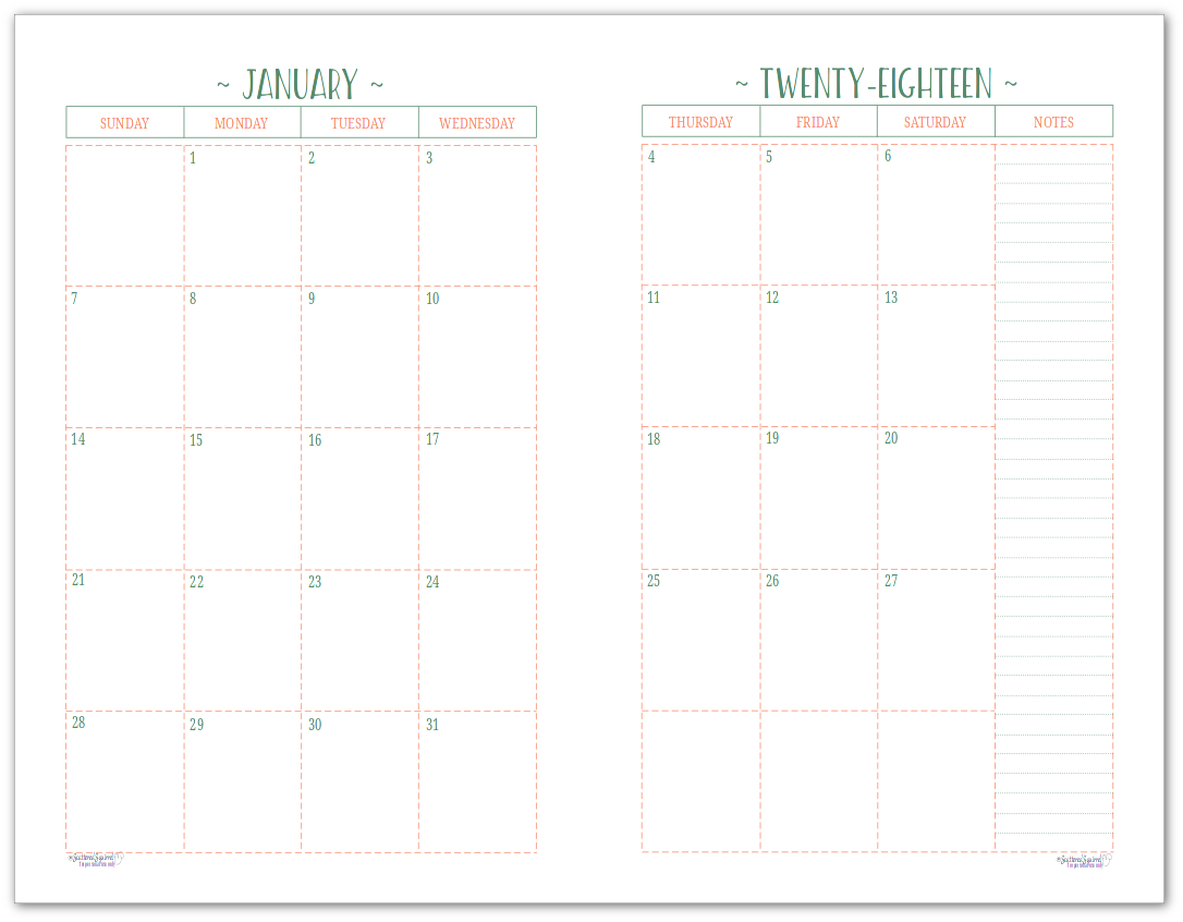 picture about Two Page Monthly Calendar Template identify 2 Website page For each Thirty day period 2018 Dated Calendars are Well prepared Successful