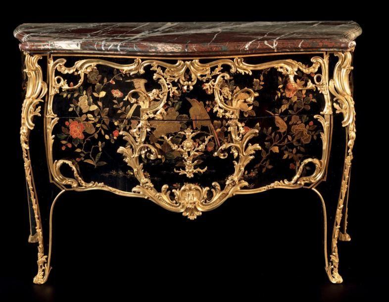 Exceptionnelle Commode En Laque Parisien Attribue A Nicolas Jean Marchand Vers 1697 Apres 1755 Recu Maitre Ebeniste Mobilier De Salon Meuble Louis Xv Laque