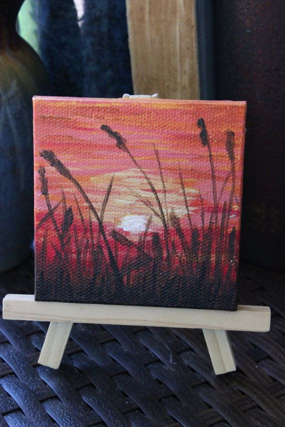 Mini Sunset Mini acrylic painting on canvas by CreatedAnew210. Mini Sunset Mini acrylic painting on canvas by CreatedAnew210