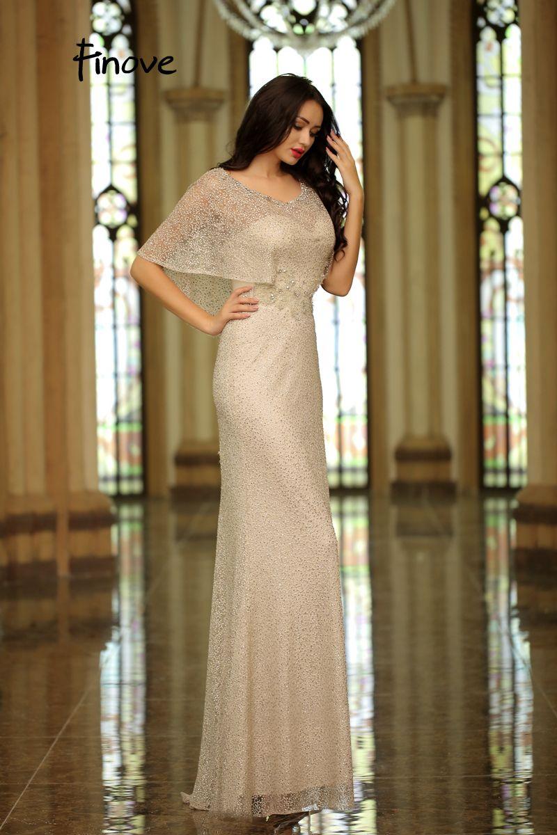 Finove new coming scoop neck cap sleeves elegant prom dress