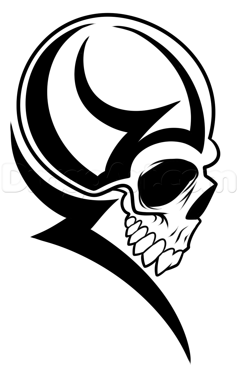 How to Draw a Tribal Skull Head, Step by Step, Tribal Art