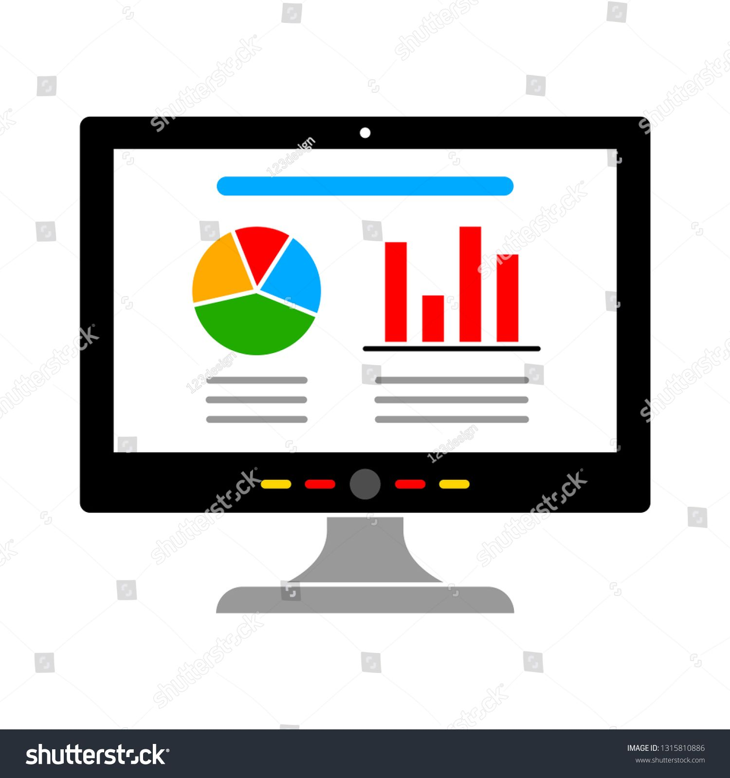 Vector Computer Charts Icon Isolated Technology Data Analysis