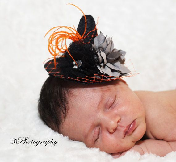 Mini Couture Witch Hat Headband 4 wide photo prop by AMOSandSAWYER, $17.50