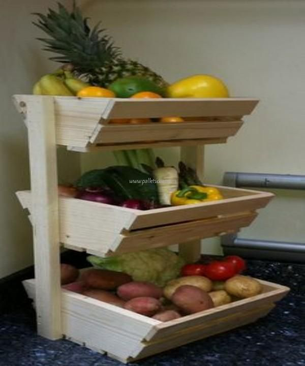 New Wood Vegetable Rack Storage Fruit Box Basket Kitchen Produce In 2020 Vegetable Rack Fruit Storage Wood Diy