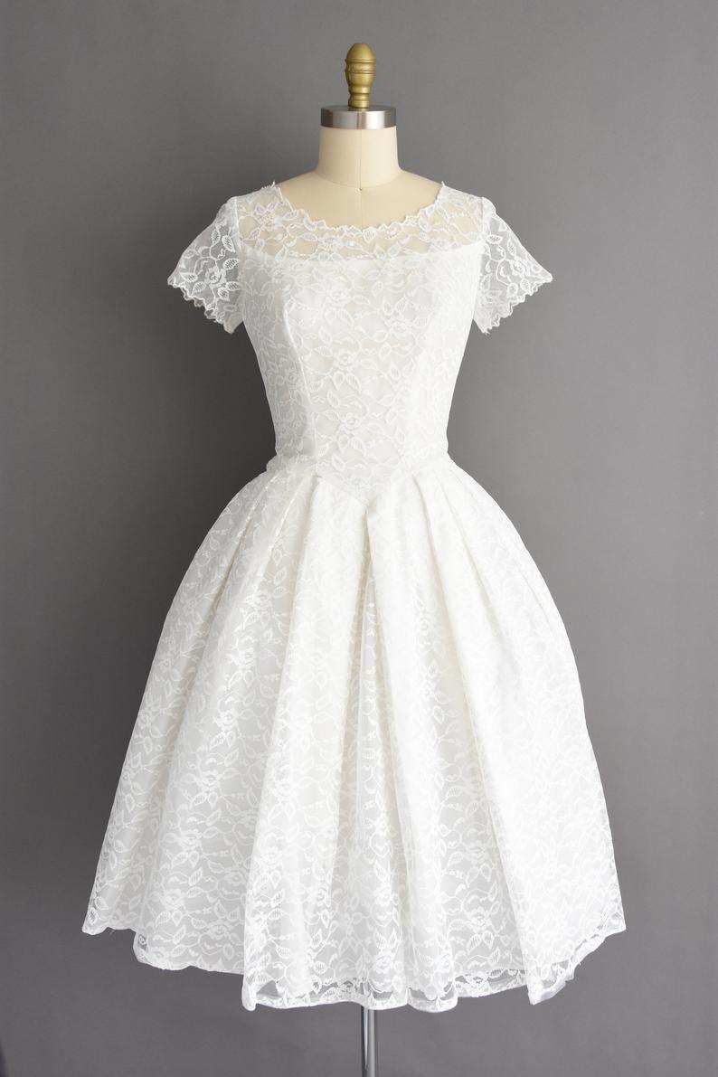 1950s Vintage Dress Size Medium White Lace Tea Length Full Image 1 Lace White Dress Vintage Dresses 50s Tea Length Dresses [ 1191 x 794 Pixel ]