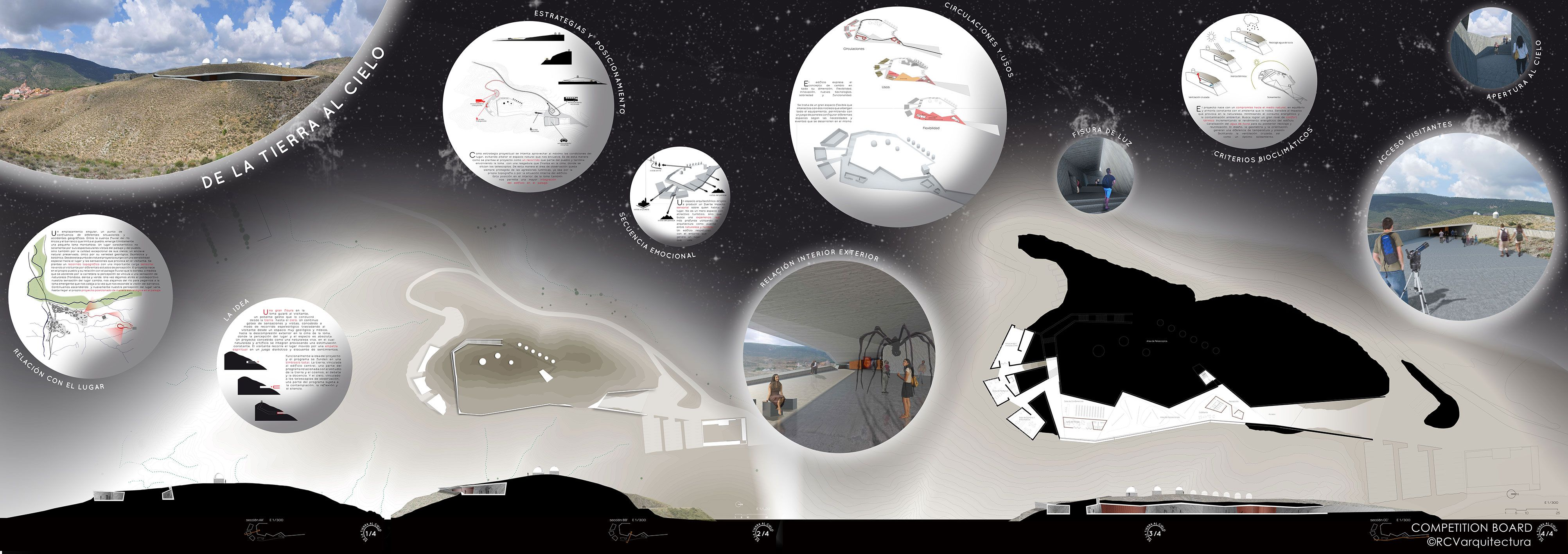 Architecture Board-Galactica, Astronomy Observatory // Galactica, Observatorio Astronómico- 2º Prize #architecture #competition #board