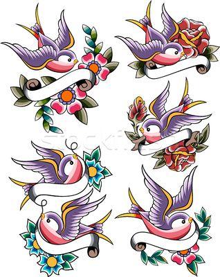 bird rose ribbon heart valentine tattoo set - vector illustratie van Sau Kit Lai (creative_stock) - Stockfresh #2276407