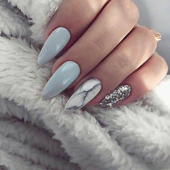 Creative mismatched glitter and marble nail art design ideas