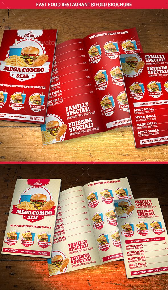 Restaurant Fast Food Menu Bifold Brochure Food menu, Brochures - food brochure