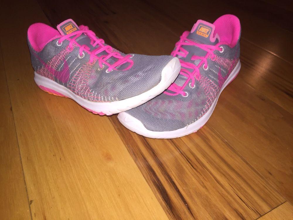 96f89466278e3 Nike Flex Fury GS Grey Pink Orange 705460 002 Youth Size 4Y EUC!!!  fashion   clothing  shoes  accessories  kidsclothingshoesaccs  girlsshoes