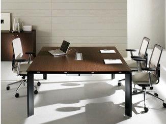 Tavolo da riunione quadrato in acciaio e legno COWORK ...