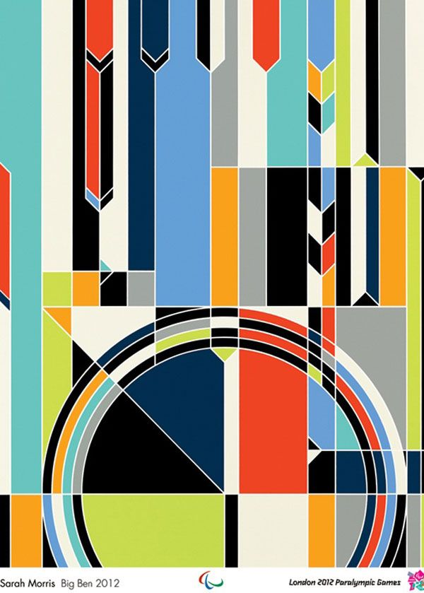Sarah Morris London 2012 Olympic Artwork alternative poster design colours - geometry - Big Ben