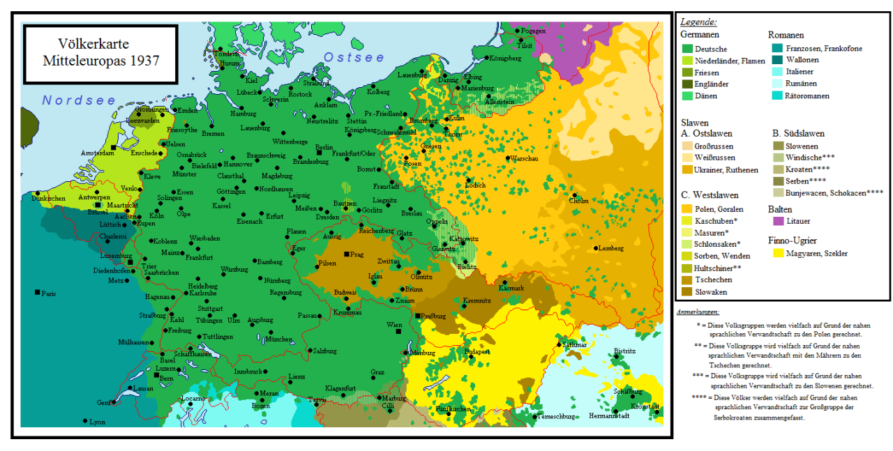 Language Map Of Central Europe 1937 Maps On The Web Language Map Europe Map Map