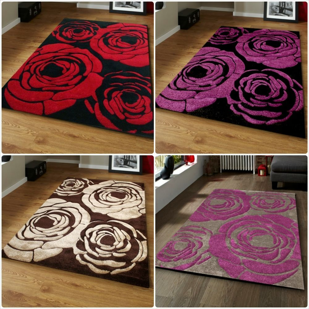 Black Red Grey Purple Brown Beige Roses Flowers New Modern Rug In