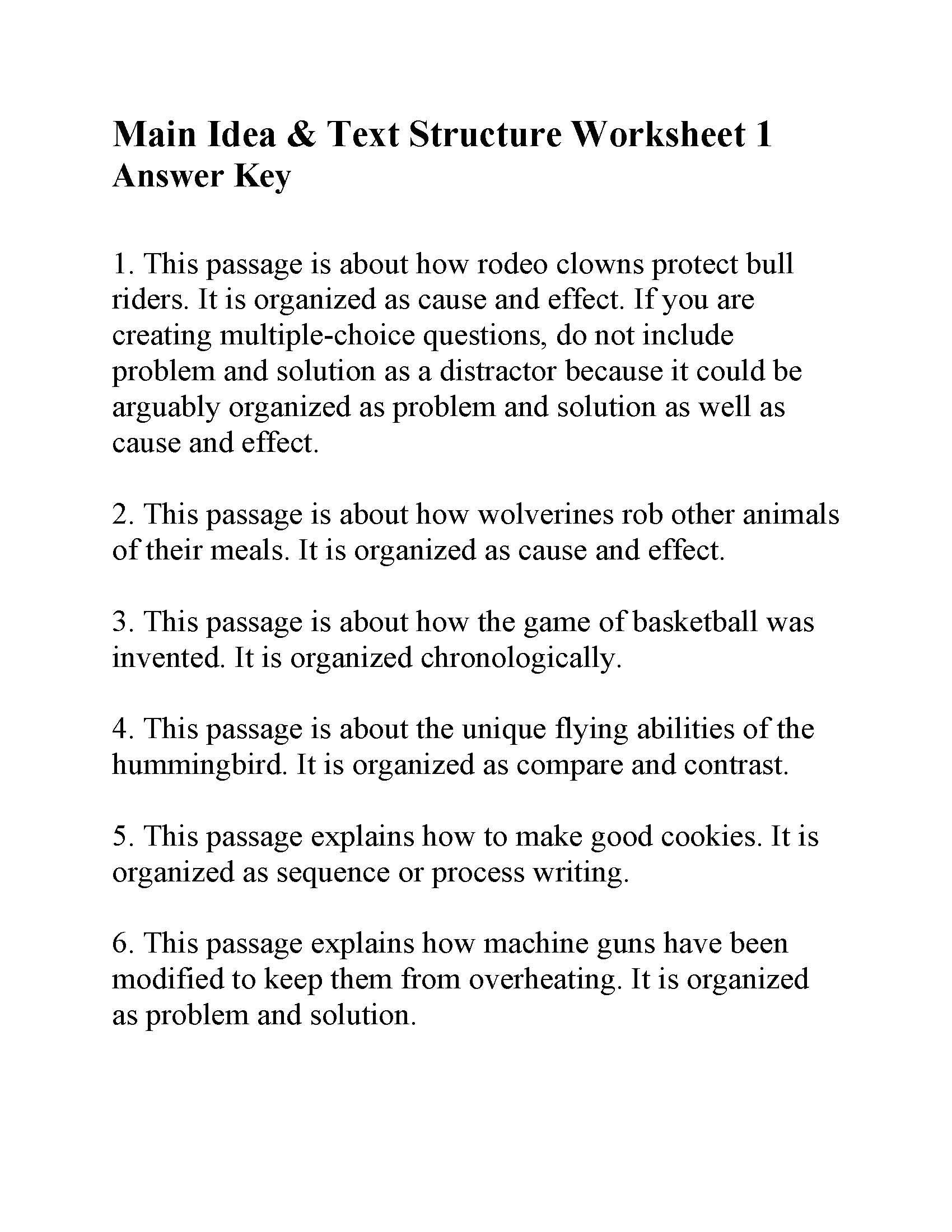 small resolution of This is the answer key for the Main Idea and Text Structure Worksheet 1.   Text  structure worksheets
