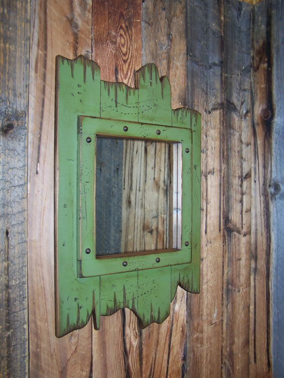 Rustic Wood Barnwood Mirror Wood Framed Mirror Antiqued