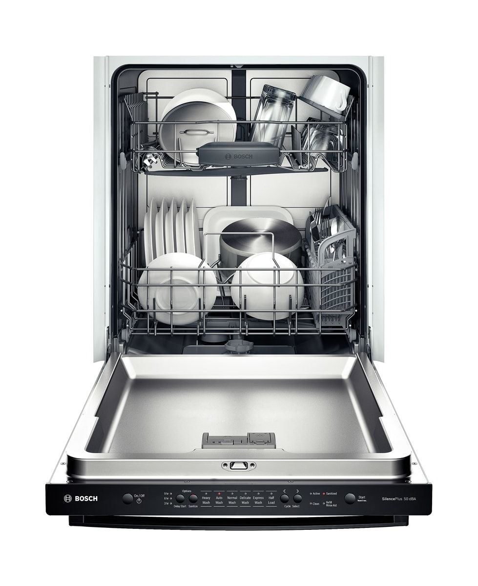 Bosch Shx3ar75uc Stainless Steel 24 Built In Dishwasher With Bar Handle And Express Wash Ascenta Series Compactappliance Com Steel Tub Built In Dishwasher Top Control Dishwasher