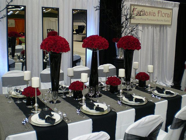 Romantic Modern Table Decor White Wedding Decorations Black And Theme Red