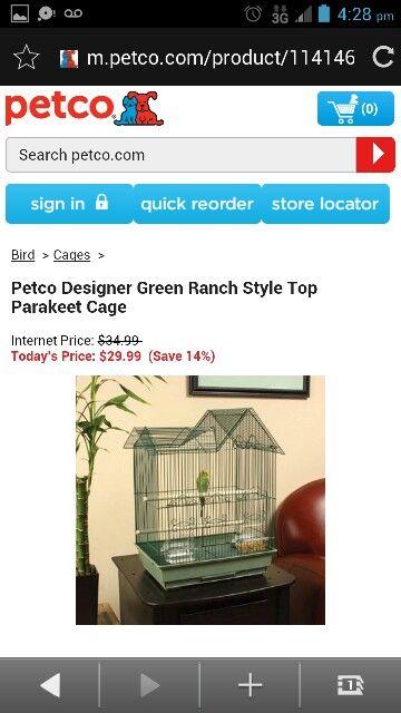 Petco Designer Green Range Top Parakeet Cage Parakeet Cage Parakeet Petco