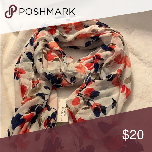 NWT Royal Blue/Orange Floral Banana Republic Scarf NWT