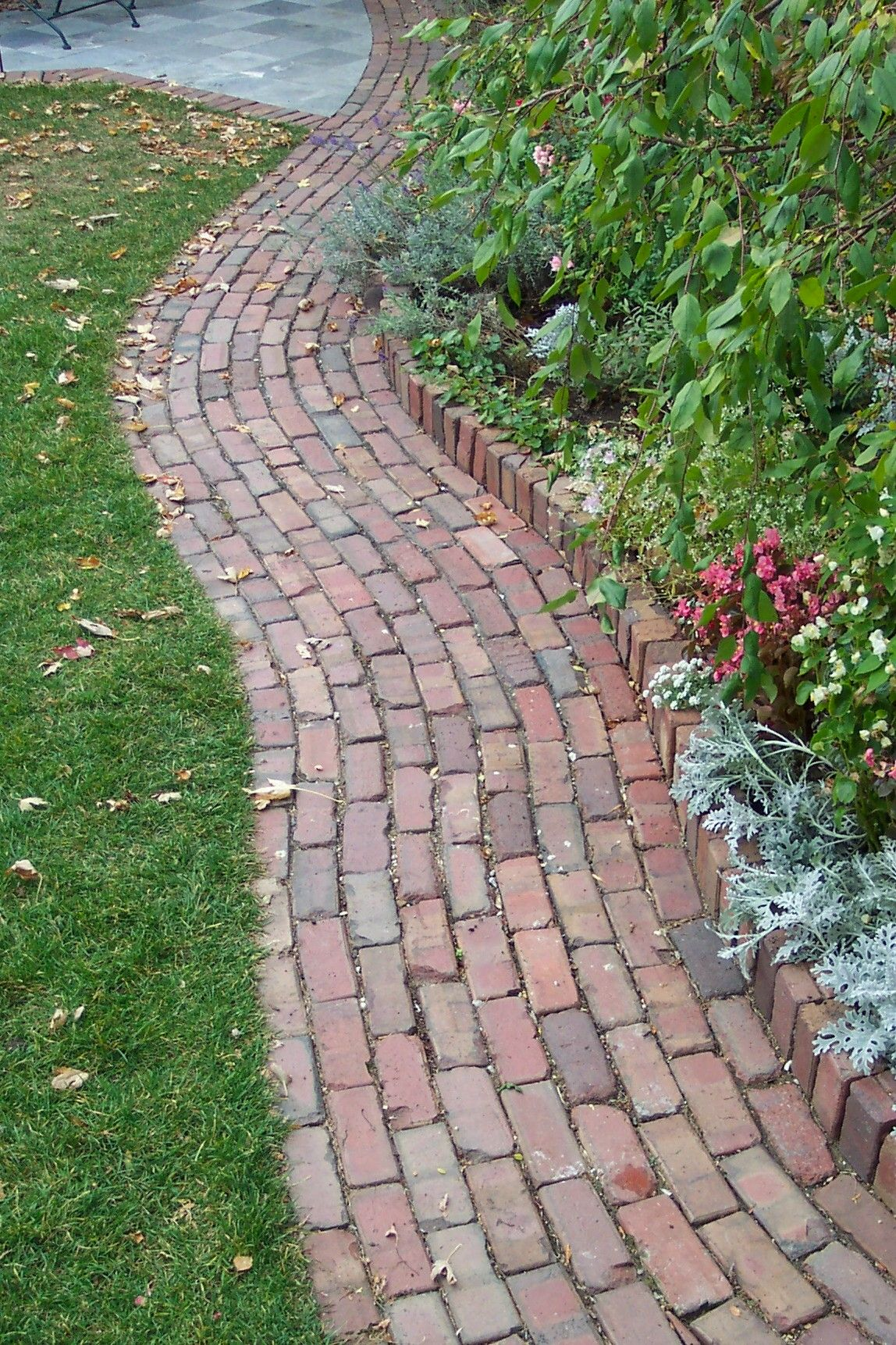 Possible flower bed option flower beds and gardens for Brick sidewalk edging