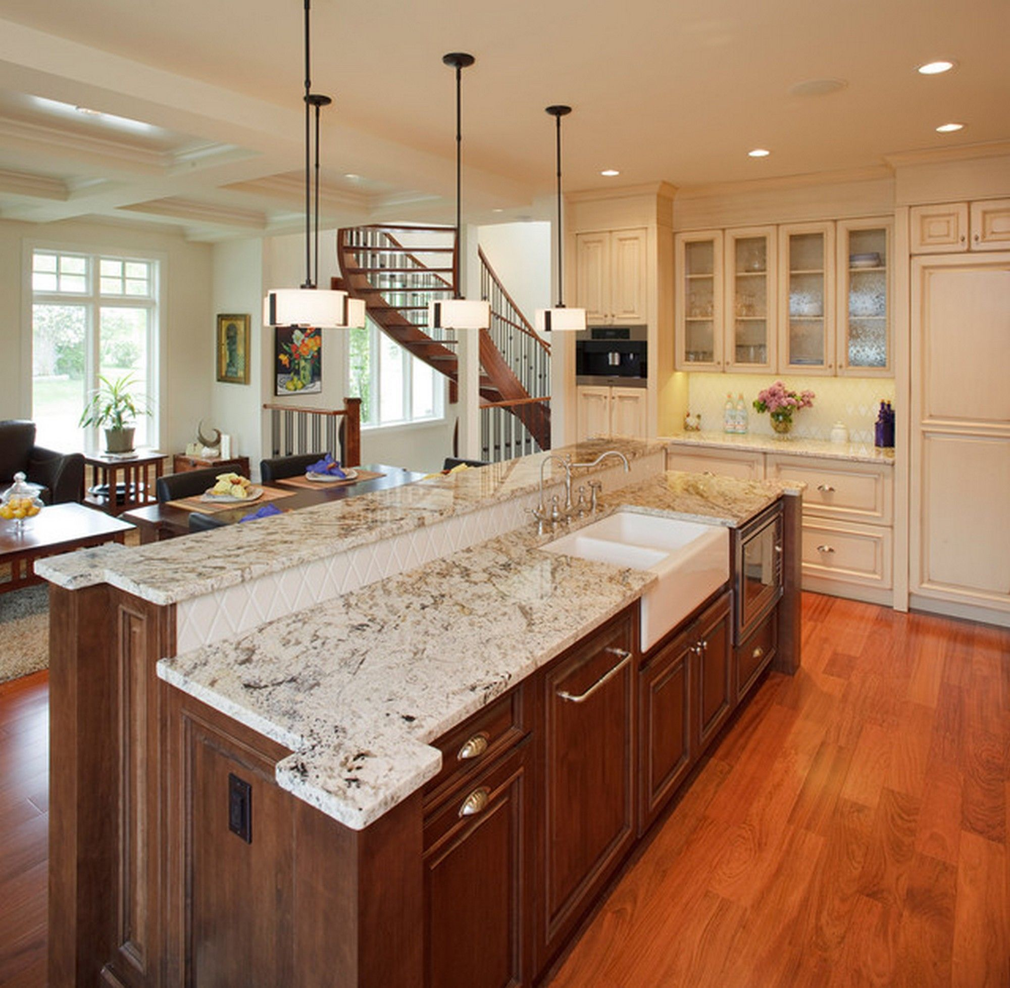 Kitchen white springs granite color for living room and kitchen combined ideas to be look large for Best granite colors for living room