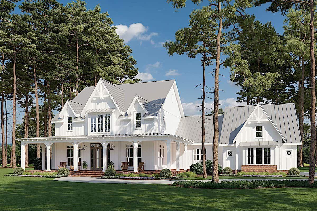 Farmhouse Home 4 Bedrms 4 5 Baths 4103 Sq Ft Plan 206 1028