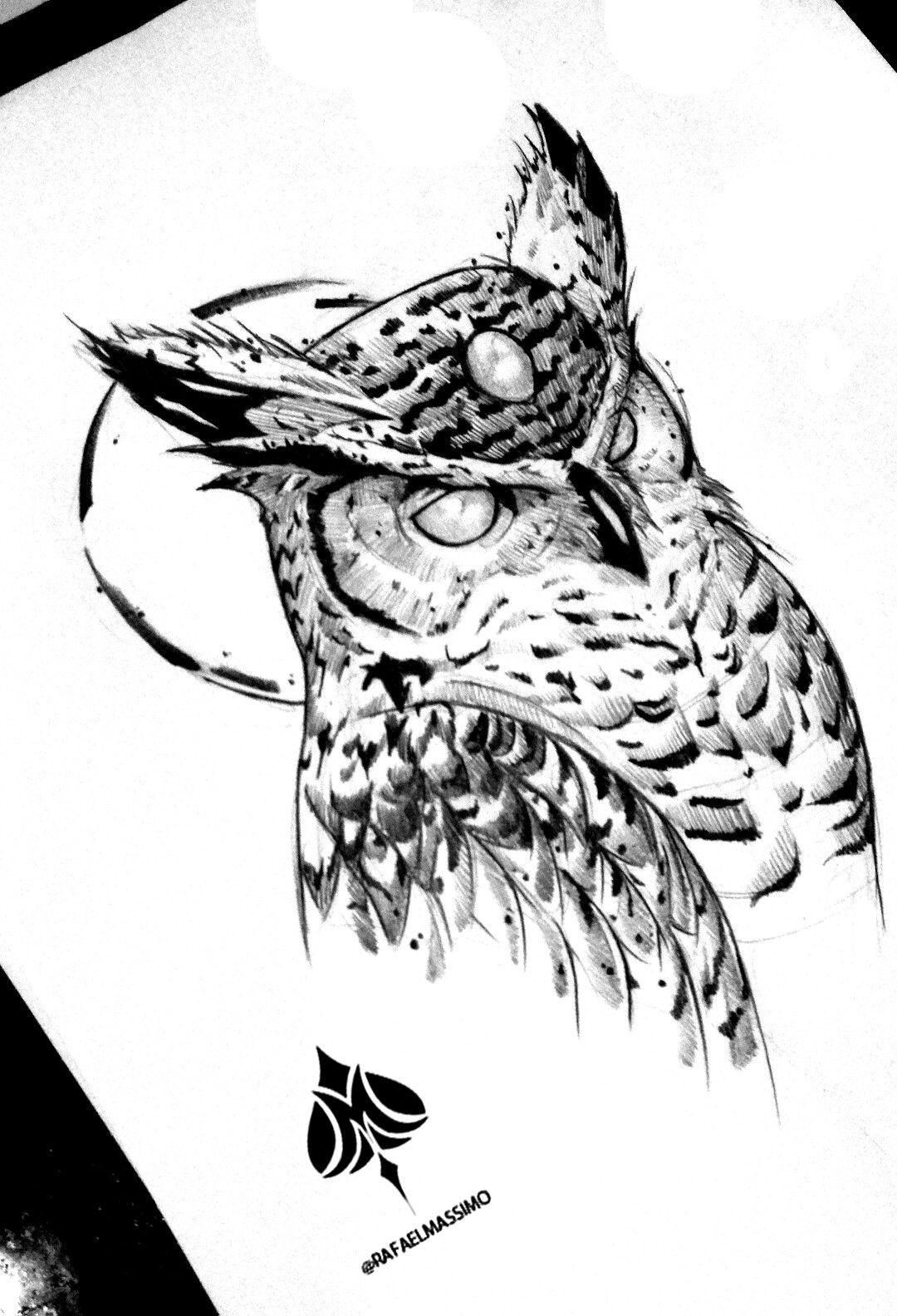 Sketchwork Owl By Rafaelmassimo Owl Blackwork Sketchwork