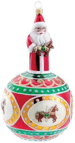 David Strand Kurt Adler Glass Carousel Santa Claus Ornament, 67