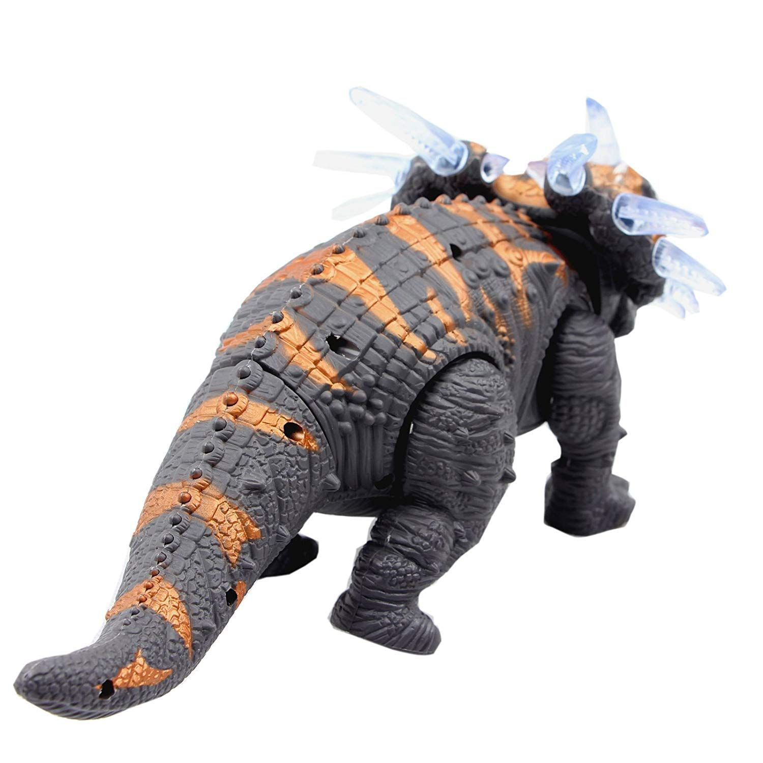 Walking Triceratops Dinosaur Toy Figure with Many Lights /& Loud Roar Sounds New