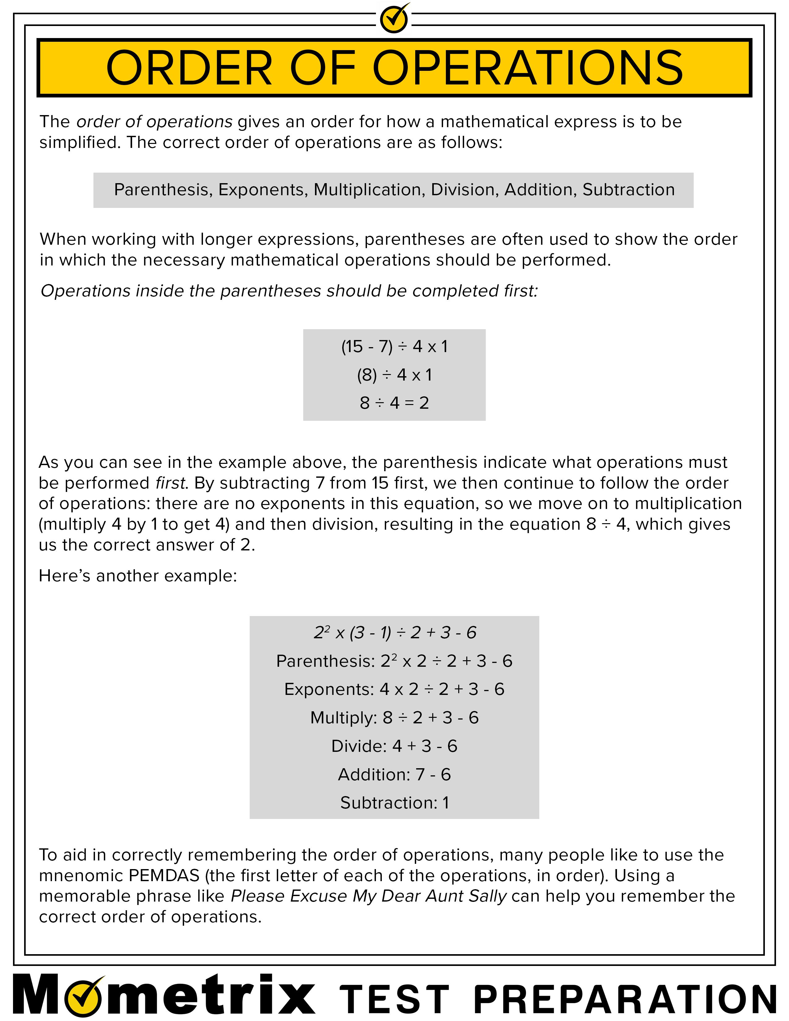 Order Of Operations Fact Sheet Anchor Charts
