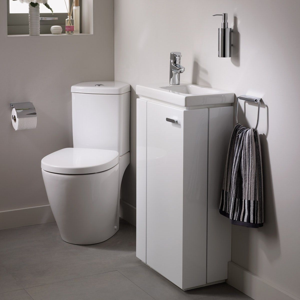 Ideal Standard Concept Space Left Handed Cloakroom Corner Suite With Vanity Unit And Basin With Images Corner Toilet