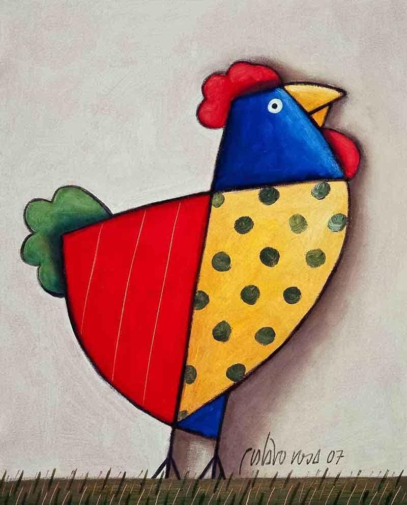 Galo amarelo vermelho e azul na grama (com imagens) | Arte de ...