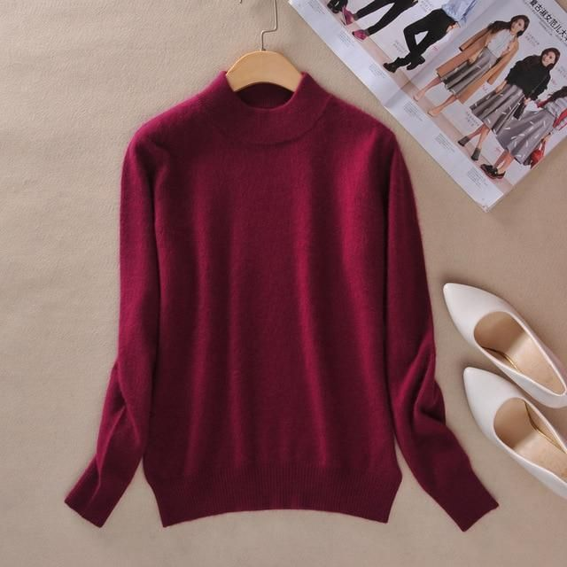 405f1c2136 Women s Cashmere Elastic Autumn Winter Half Turtleneck Sweaters and  Pullovers Wool Sweater Slim Tight Bottoming Knitted Pullover
