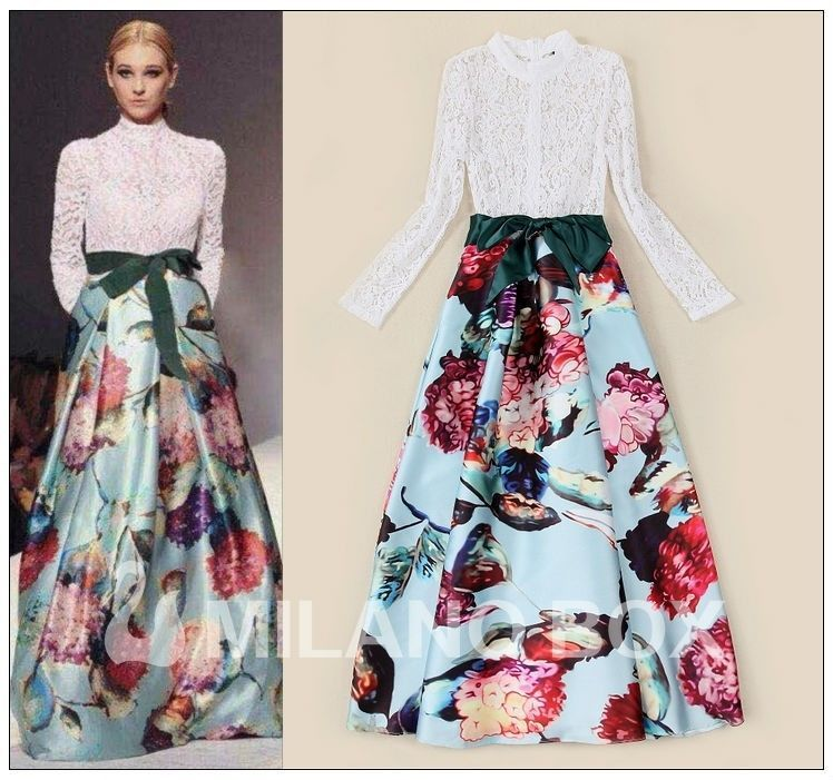 Long Sleeve White Lace Bodice Chiffon Skirt Elegant Simple: Long Sleeve White Lace Bodice Pale Blue Full Floral Print