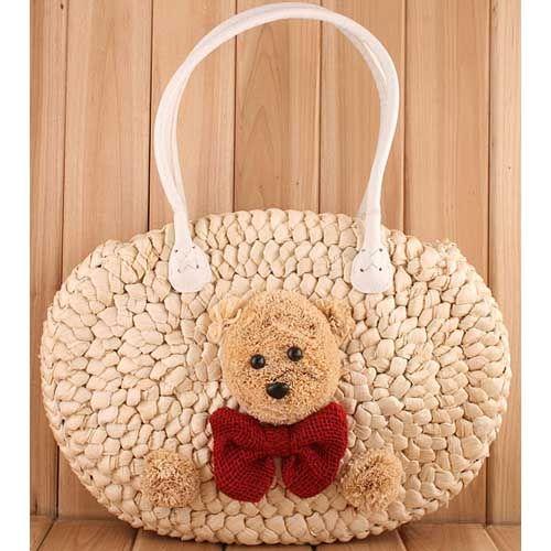 Harumi teddy bear white satchel handbag