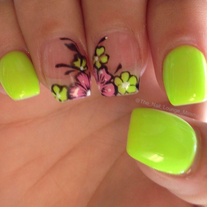 Bright summer flower nail art design | Nail Art | Pinterest | Flower ...