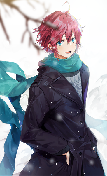 Anime Picture Original Bosack Single Tall Image Short Hair Open Mouth Blue Eyes Fringe Pink Hair Hair Between Anime Red Hair Red Hair Anime Guy Anime Boy Hair