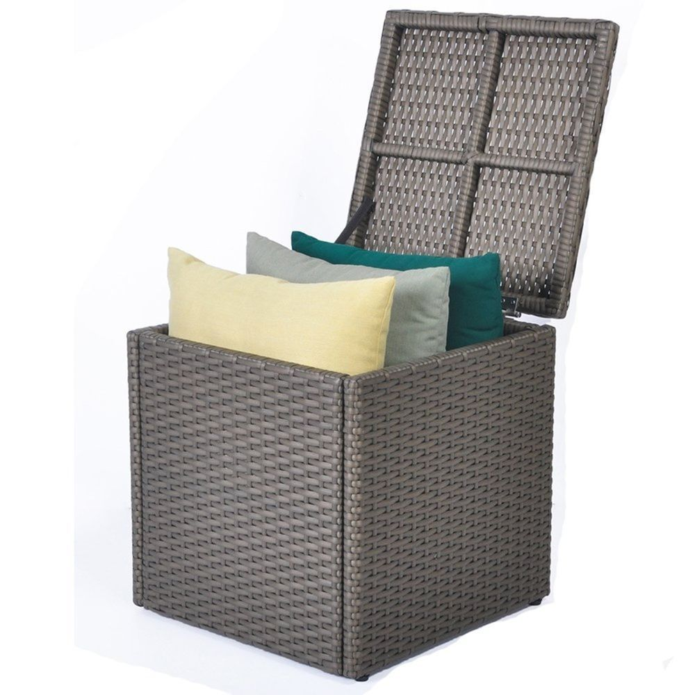 Outdoor Storage Box Patio Backyard Resin Wicker Container Bench Chair Seat Brown Arttoreal