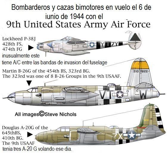 Bombarderos de la 9a fuerza aerea de los estados unidos de America. el 9 de junio de 1944