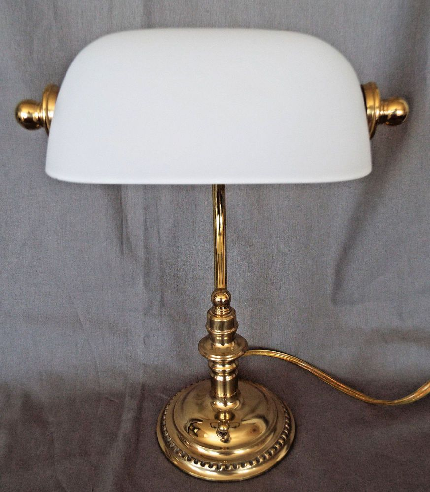 Bankers piano lamp brass base white frosted vintage glass shade bulb bankers piano lamp brass base white frosted vintage glass shade bulb included aloadofball Gallery