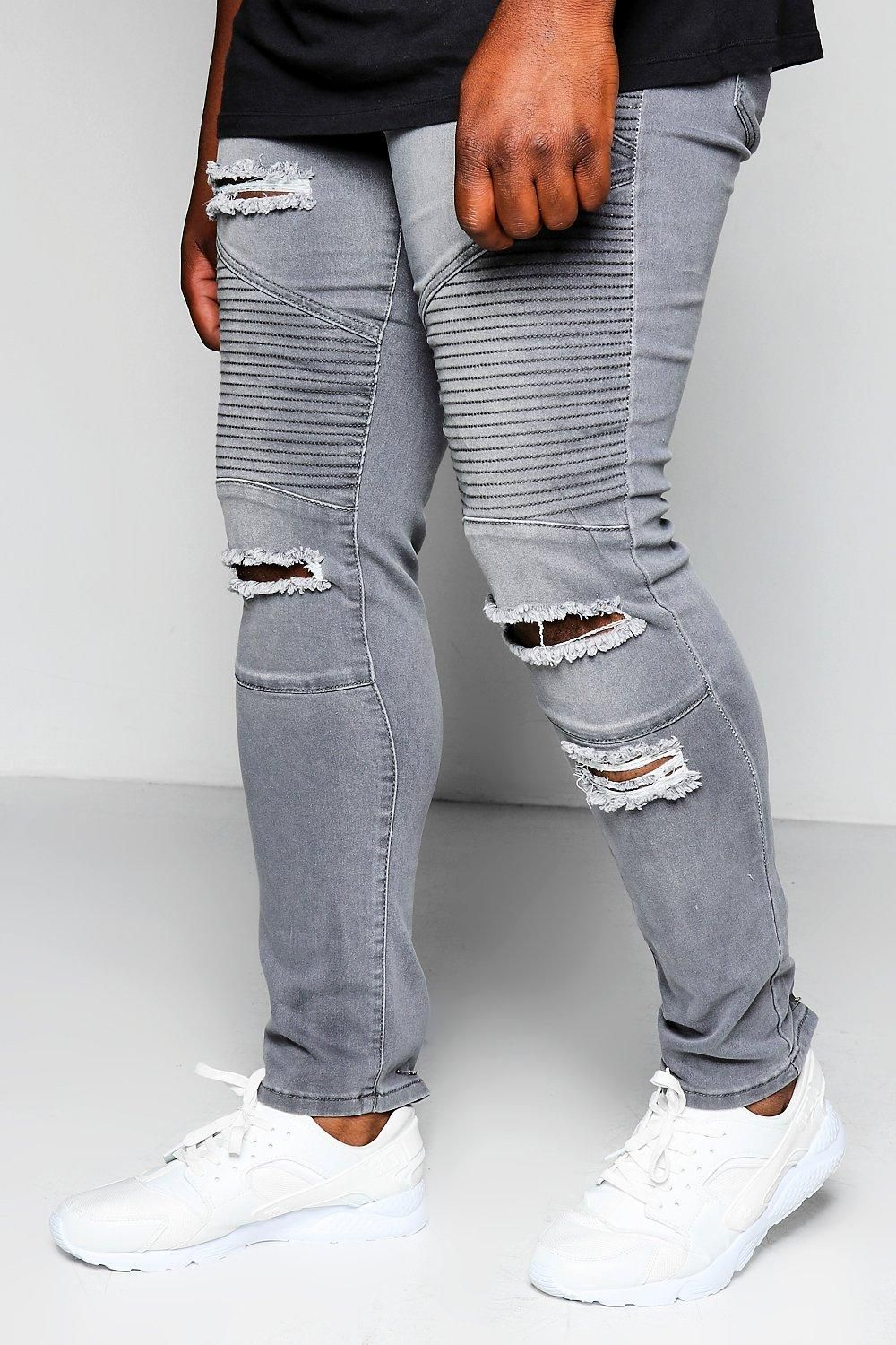 a9c62f244611a boohoo Big And Tall Grey Skinny Fit Ripped Biker Jeans | BOY STYLE ...