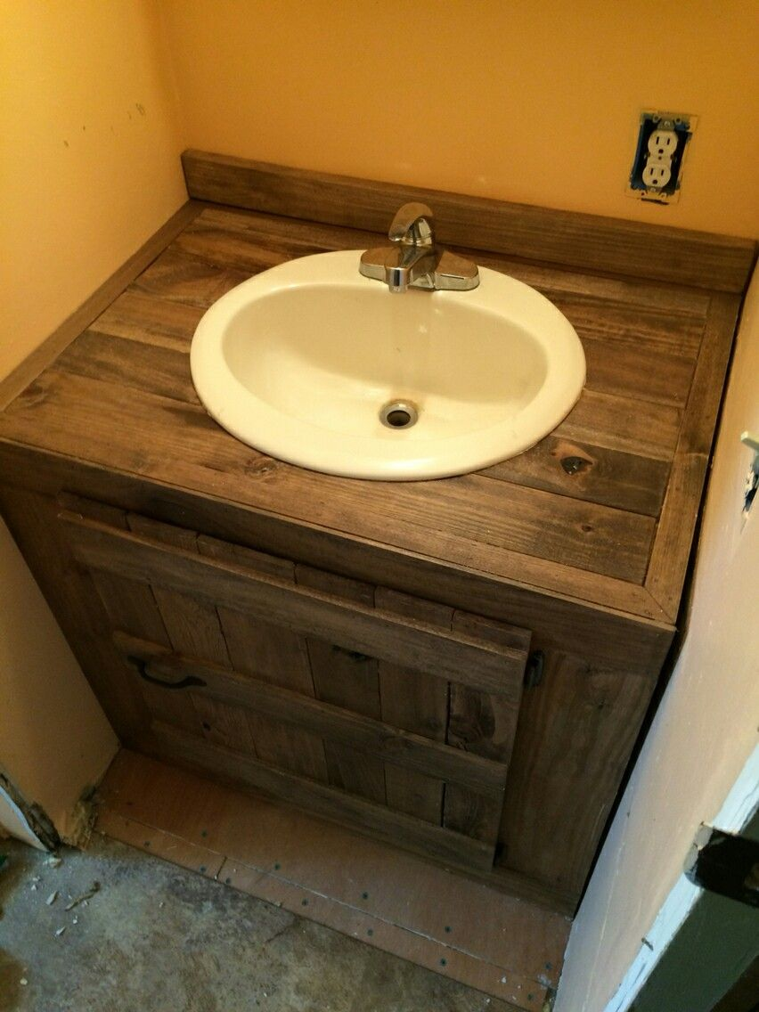 Pallet wood sink cabinet bathroom ideas pinterest for Bathroom ideas made from pallets