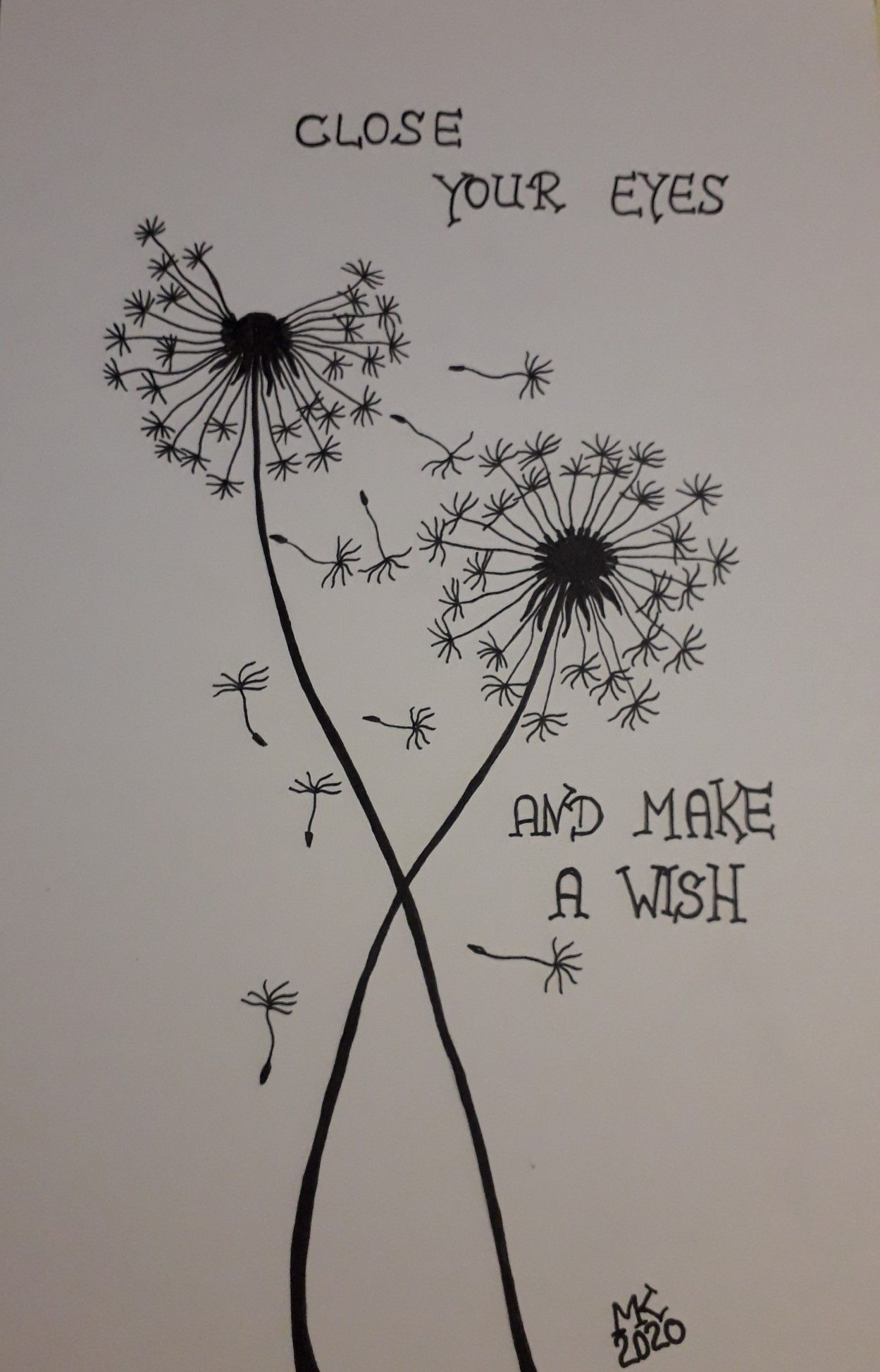 CLOSE #YOUR #EYES AND #MAKE A #WISH #Pusteblume #Zeichnung in