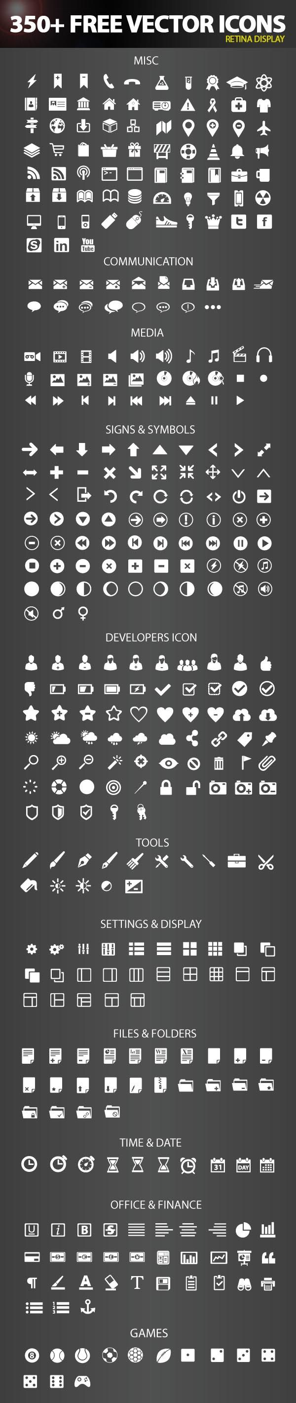 Free Icon Pack 20 Retina Display Ready Icons   Six Revisions ...