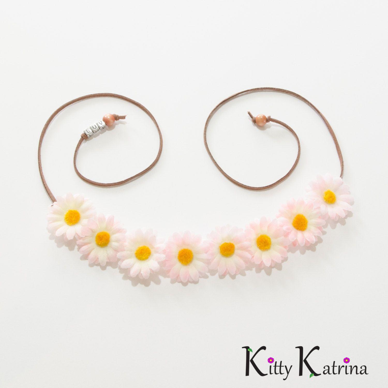Pink White Daisy Flower Crown Flower Headband Festival Headband