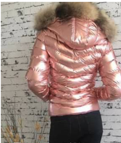 8098bc25b Faux-Fur-Trim Hooded Puffer Jacket in Shiny PINK | Ski suits | Faux ...