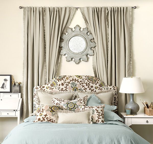 7 Ideas For Recharging Your Bedroom Space How To Decorate Curtains Behind Bed Bedroom Wall Bed Decor