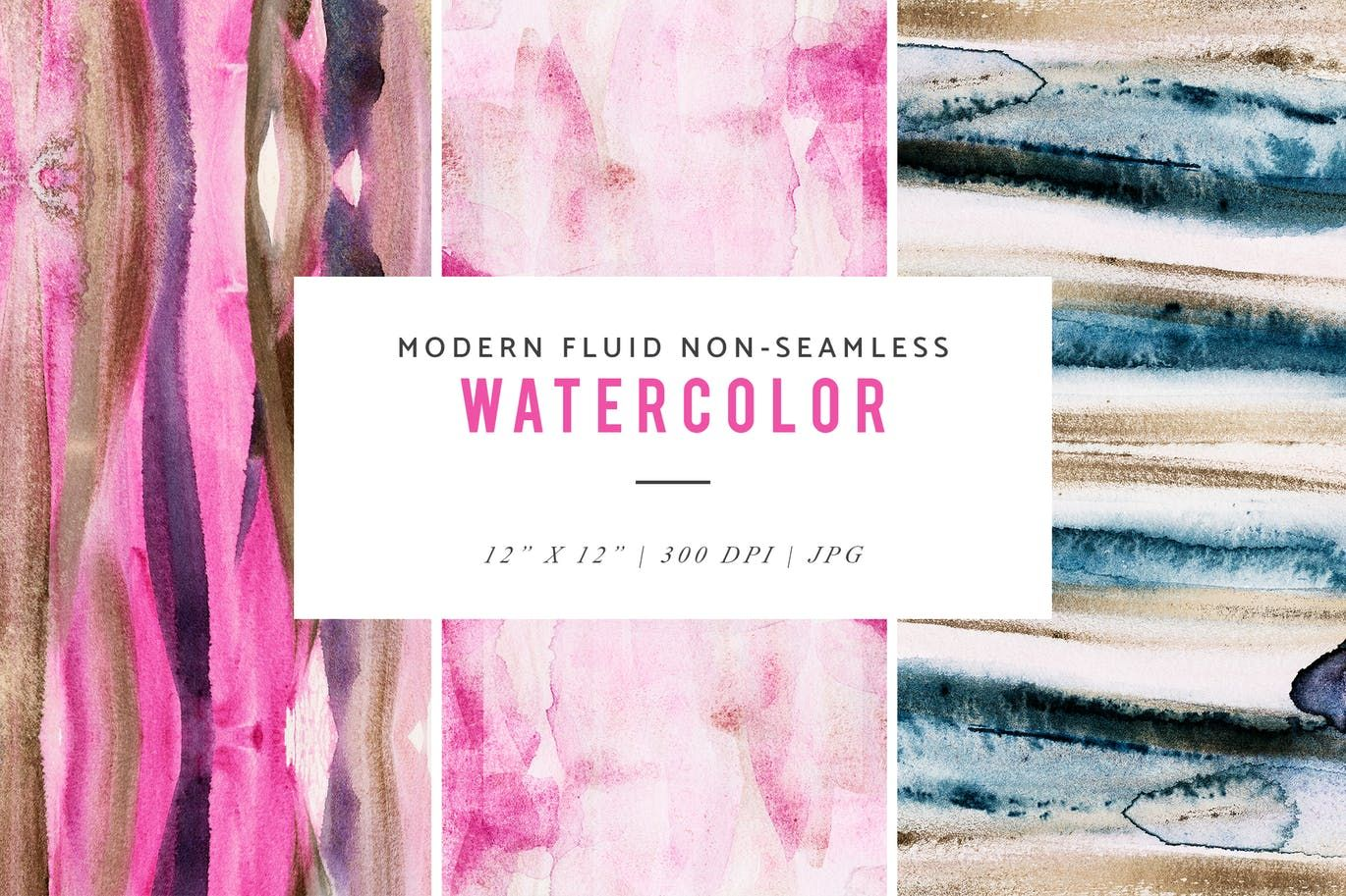 Modern Fluid Non Seamless Watercolor Patterns By Featherandsage On